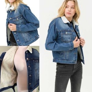 MUST HAVE Denim Jacket Faux Sherpa Lined w/Collar